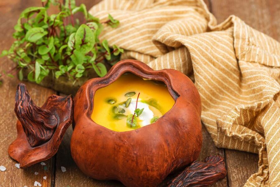 тыквенный крем-суп(340 руб.)