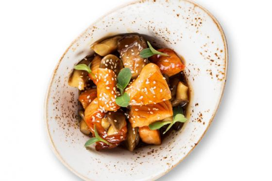 Лосось в соусе терияки с грибами(350 руб.)