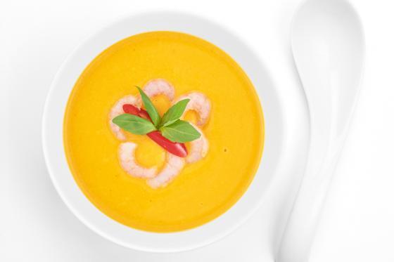 Суп тыквенный с креветкой(350 руб.)